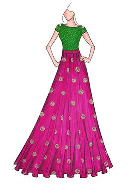 Green N Magenta Highwaisted Skirt N Crop Top