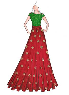 Green N Maroon Highwaisted Skirt N Crop Top