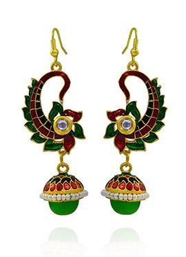 Green N Maroon Hooks Style Dangler Earring