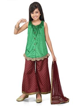 Green N Maroon Kids Palazzo Suit