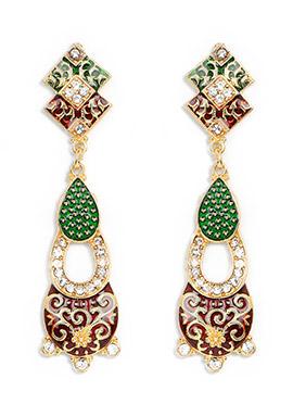 Green N Maroon Stone Studded Stylish Danglers