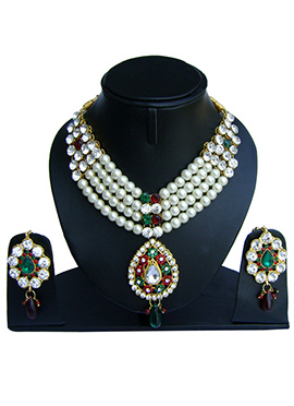 Green N Maroon Zircon Stone Necklace Set