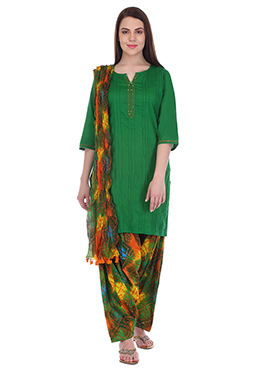 Green N Multicolored Pure Cotton Patiala Suit