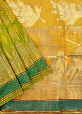 Green N Mustard Benarasi Pure Silk Saree