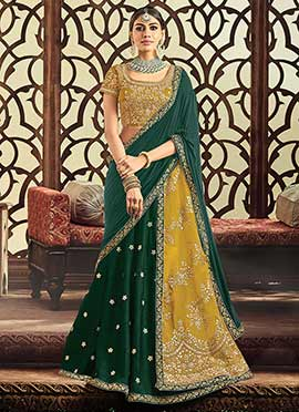 Green N Mustard Embroidered A Line Lehenga