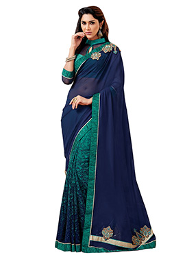 Green N Navy Blue Georgette Half N Half Saree
