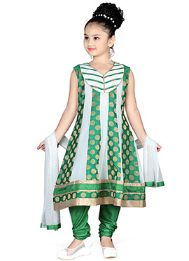 Green N Off White Net Kids Anarkali Suit