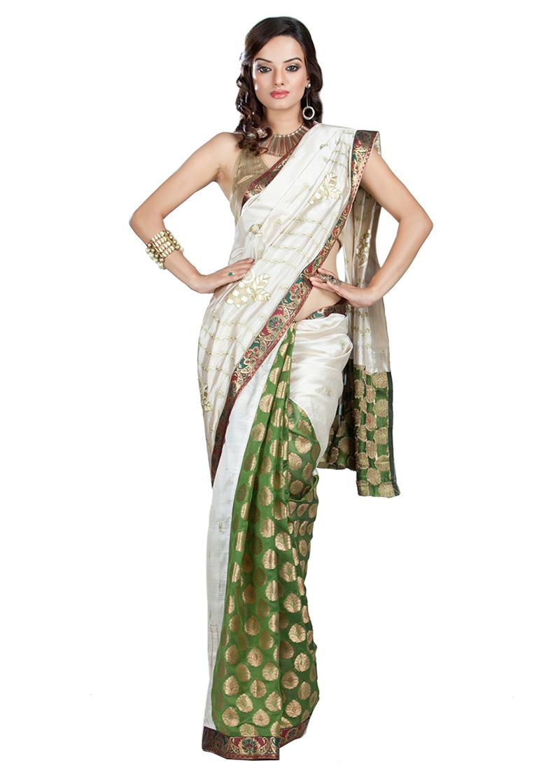 cb74ad9f04 Buy Green N Off White Saree, Zari , Tussar , Chanderi, sari Online ...