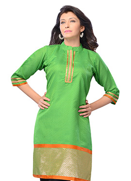Green N Orange Art Silk Short Kurti