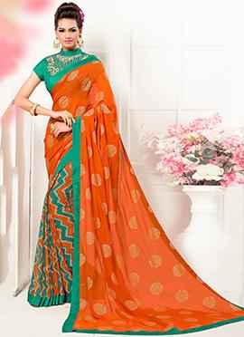 Green N Orange Half N Half Saree