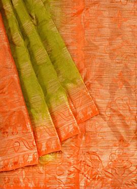 Green N Orange Pure Handloom Silk Saree