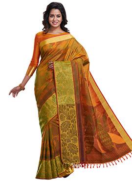 Green N Orange Pure Silk Handloom Saree