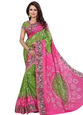 Green N Pink Art Silk Bandhini Pattern Jacquard Saree