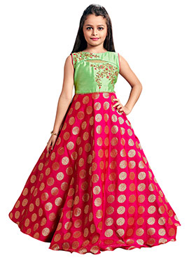 Green N Pink Art Silk Kids Gown