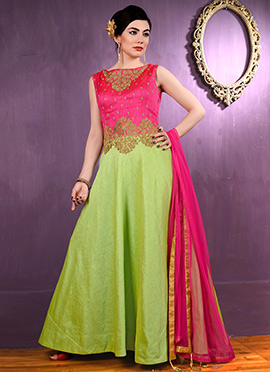 Green N Pink Bhagalpuri Silk Anarkali Suit