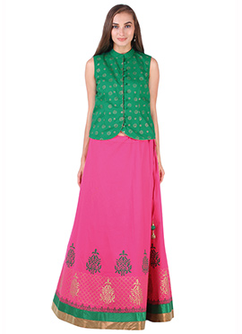 Green N Pink Cotton 9rasa A Line Lehenga Choli