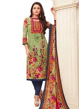 Green N Pink Cotton Churidar suit