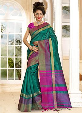 Green N Pink Cotton Saree