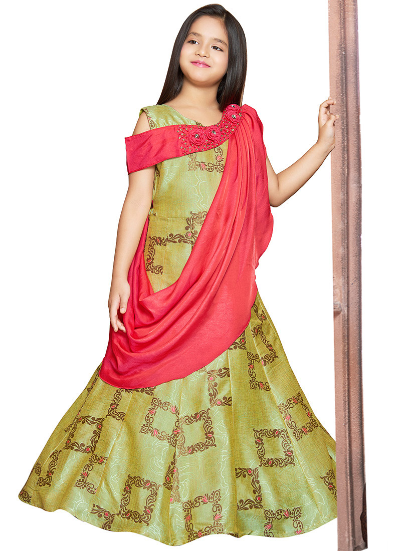 bc0af4e0a788f Buy Green N Pink Embroidered Kids Gown, Jacquard , Embroidered ...