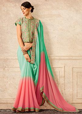 Green N Pink Georgette Saree
