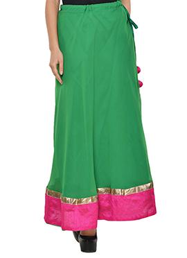 Green N Pink Georgette Skirt
