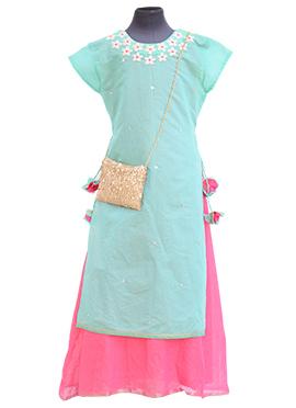 Fayon Green N Pink Kids Skirt Set