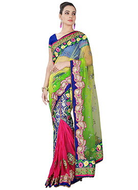 Green N Pink Net Ready Plated Saree