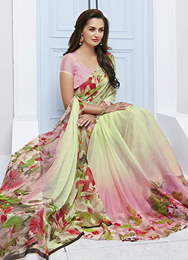 Green N Pink Ombre Floral Pattern Printed Saree