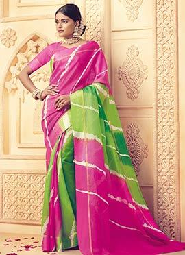 Green N Pink Printed Saree