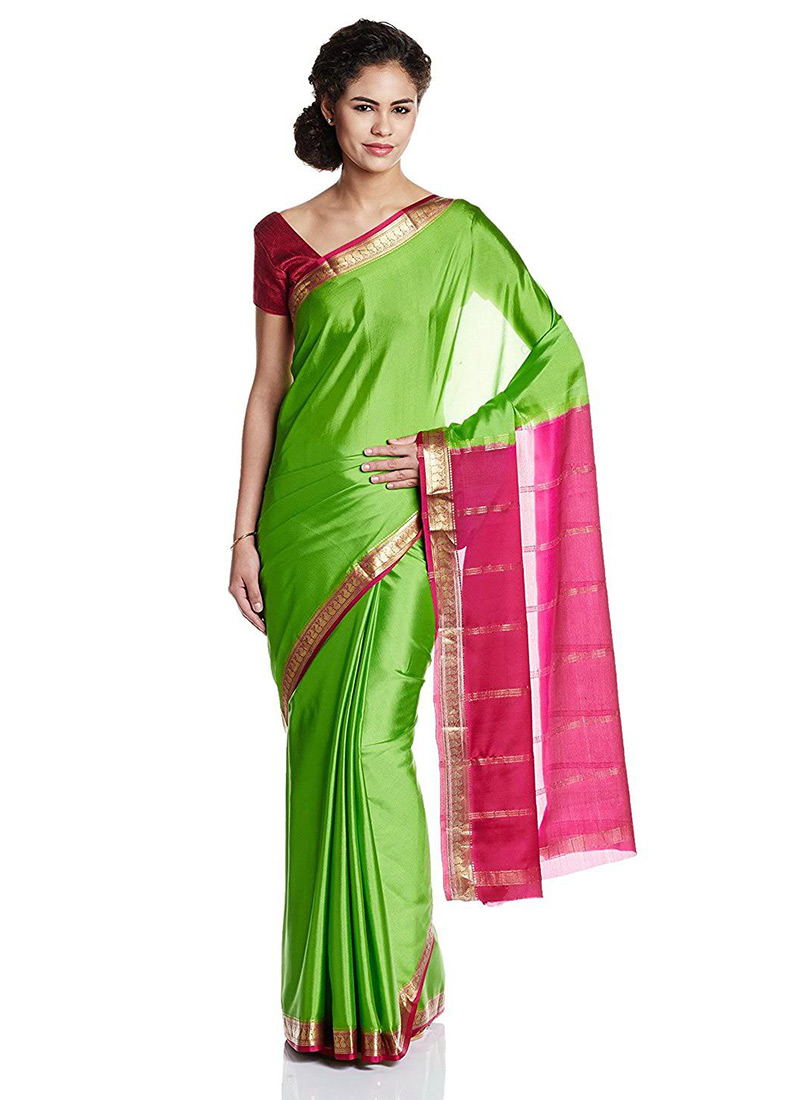 4dcfff88815 Buy Green N Pink Pure Mysore Silk Saree