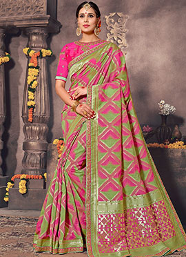 Green N Pink Silk Cotton Saree
