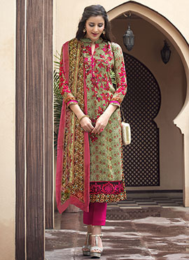 Green N Pink Straight Pant Suit