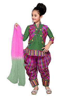 Green N Pink Teens Jacket Style Patiala Suit
