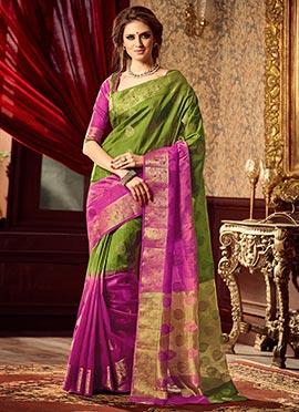 Green N Pink Uppada Art Silk Saree