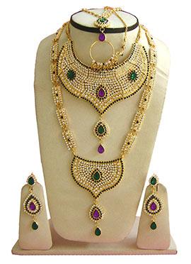 Green N Purple Zircon Stones Bridal Set