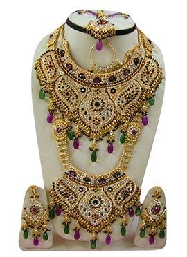 Green N Purple Zircon Stones Embellished Bridal Set
