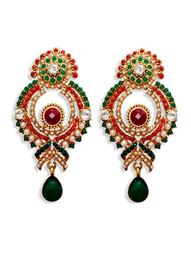 Green N Red Beads Chandbali Earrings