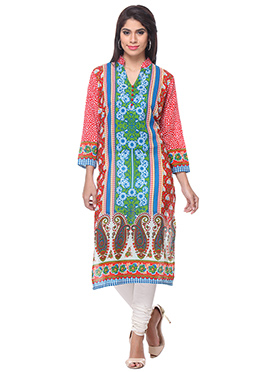 Green N Red Blended Cotton Kurti