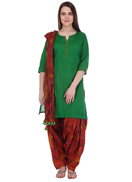 Green N Red Pure Cotton Patiala Suit