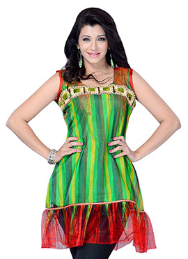 Green N Red Blended Cotton Short Kurti