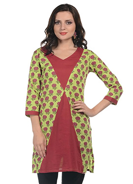Green N Red Cotton Kurti