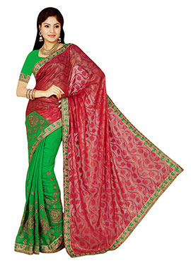 Green N Red Half N Half Saree