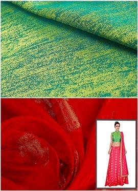 Green N Red Skirt N Crop Top