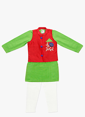 Green N Red Kids Embroidered Bandi Set