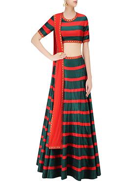 Green N Red lehenga Choli