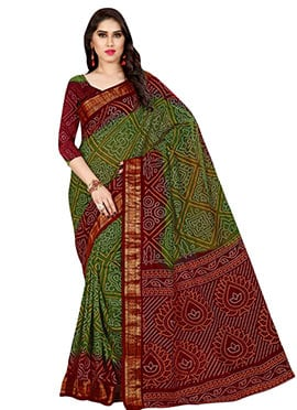 Green N Maroon Bandhini Printed Saree