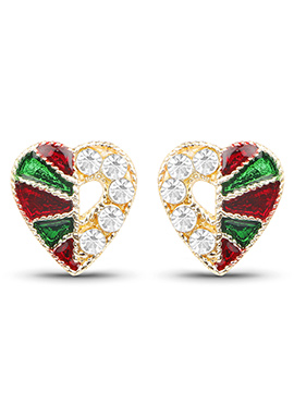Green N Red Stud Earring