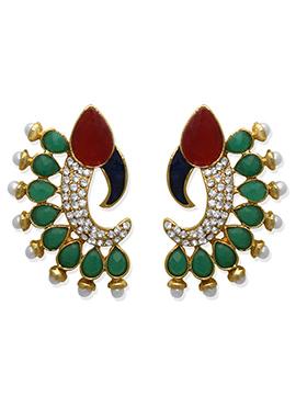 Green N Red Studs Earring