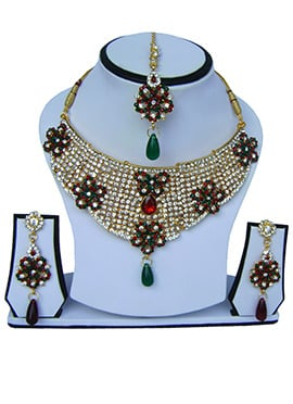 Green N Red Zircon Stone Necklace Set