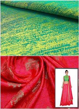 Green N Reddish Pink Skirt N Crop Top